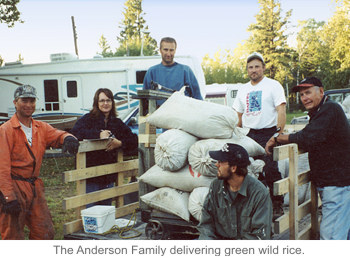 The Anderson Family delivering green wild rice