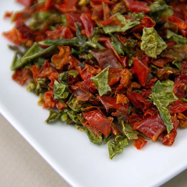 Air Dried Green and Red Peppers